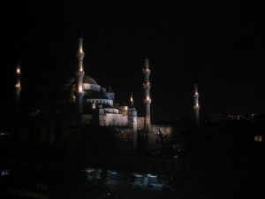 The Blue Mosque (from the Marmara Terrace at the Mavi Ev Restaurant)