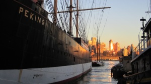 South Street Seaport sunset over Brooklyn