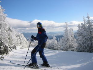 Jenni at the top of the Four-runner Quad (Toll Road Trail) at Stowe Ski Resort