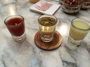 """Mexican Flag"" tequila trio"